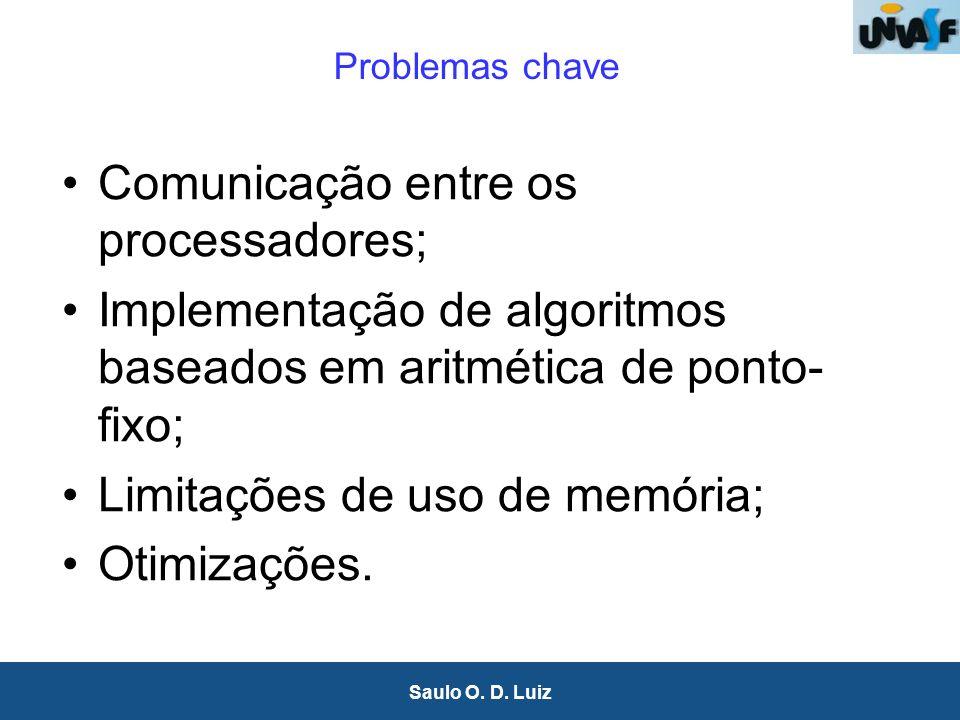 36 Saulo O. D. Luiz Problemas chave Comunicação entre os processadores; Implementação de algoritmos baseados em aritmética de ponto- fixo; Limitações