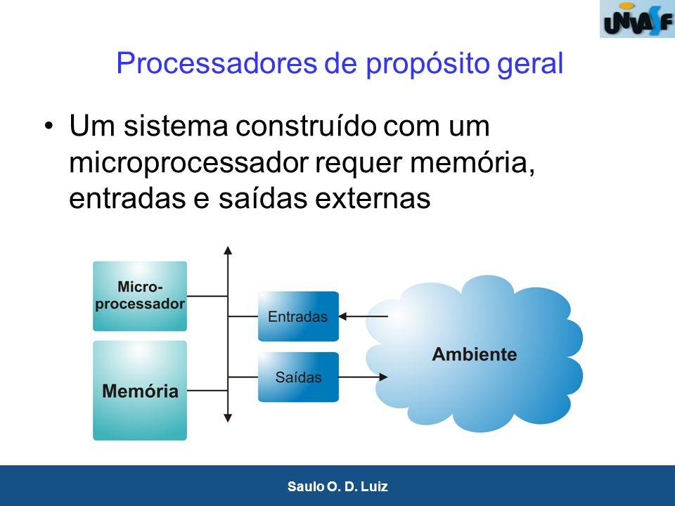 5 Saulo O. D. Luiz Processadores de propósito geral Um sistema construído com um microprocessador requer memória, entradas e saídas externas