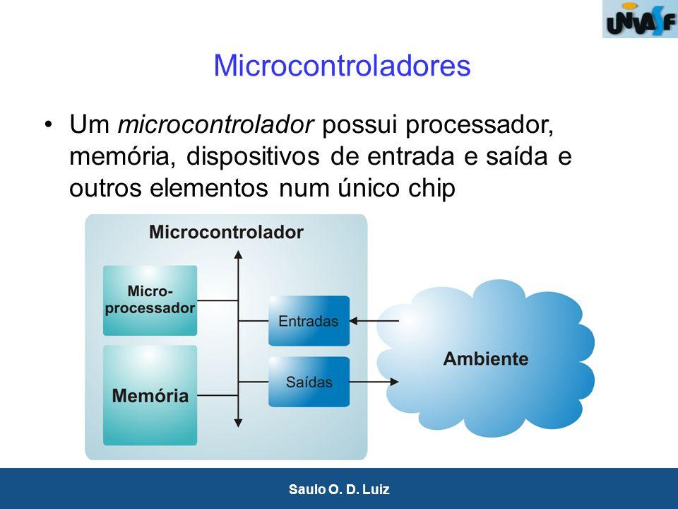 6 Saulo O. D. Luiz Microcontroladores Um microcontrolador possui processador, memória, dispositivos de entrada e saída e outros elementos num único ch