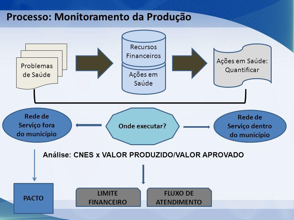 Processo: Monitoramento da Produção Problemas de Saúde Ações em Saúde Recursos Financeiros Ações em Saúde: Quantificar Onde executar.