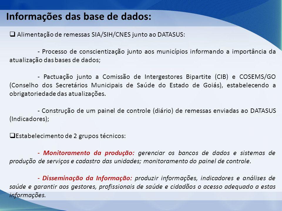 Informações das base de dados: Alimentação de remessas SIA/SIH/CNES junto ao DATASUS: - Processo de conscientização junto aos municípios informando a importância da atualização das bases de dados; - Pactuação junto a Comissão de Intergestores Bipartite (CIB) e COSEMS/GO (Conselho dos Secretários Municipais de Saúde do Estado de Goiás), estabelecendo a obrigatoriedade das atualizações.