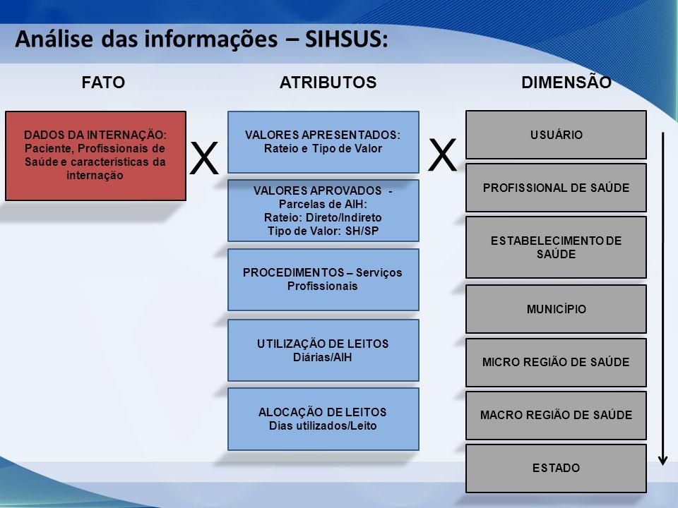 Análise das informações – SIHSUS: FATO DADOS DA INTERNAÇÃO: Paciente, Profissionais de Saúde e características da internação X ATRIBUTOS VALORES APROVADOS - Parcelas de AIH: Rateio: Direto/Indireto Tipo de Valor: SH/SP PROCEDIMENTOS – Serviços Profissionais VALORES APRESENTADOS: Rateio e Tipo de Valor UTILIZAÇÃO DE LEITOS Diárias/AIH ALOCAÇÃO DE LEITOS Dias utilizados/Leito X DIMENSÃO USUÁRIO PROFISSIONAL DE SAÚDE ESTABELECIMENTO DE SAÚDE MUNICÍPIO MICRO REGIÃO DE SAÚDE MACRO REGIÃO DE SAÚDE ESTADO