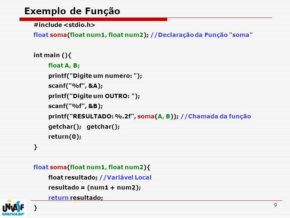 10 Funções - VOID O tipo void quer dizer vazio; Permite fazer funções que não retornam um valor; O comando return não é necessário; podemos utilizar return para finalizar o processamento de uma função em pontos estratégicos.