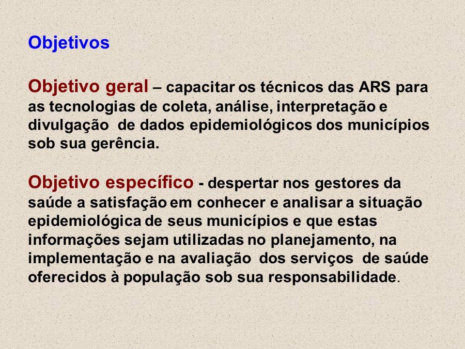 Objetivos Objetivo geral – capacitar os técnicos das ARS para as tecnologias de coleta, análise, interpretação e divulgação de dados epidemiológicos d