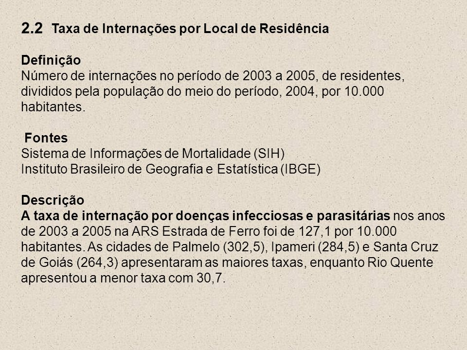 2.2 Taxa de Internações por Local de Residência Definição Número de internações no período de 2003 a 2005, de residentes, divididos pela população do