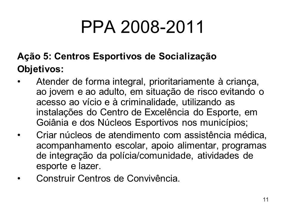 11 PPA 2008-2011 Ação 5: Centros Esportivos de Socialização Objetivos: Atender de forma integral, prioritariamente à criança, ao jovem e ao adulto, em