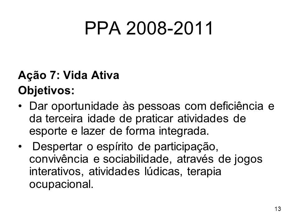 13 PPA 2008-2011 Ação 7: Vida Ativa Objetivos: Dar oportunidade às pessoas com deficiência e da terceira idade de praticar atividades de esporte e laz