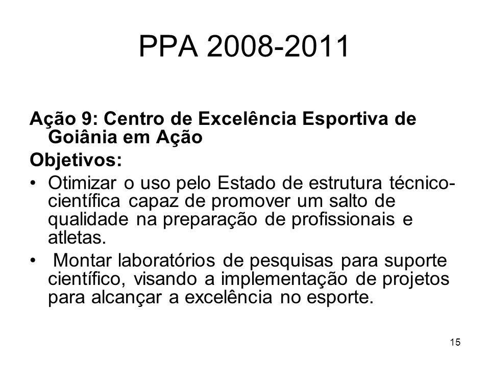 15 PPA 2008-2011 Ação 9: Centro de Excelência Esportiva de Goiânia em Ação Objetivos: Otimizar o uso pelo Estado de estrutura técnico- científica capa