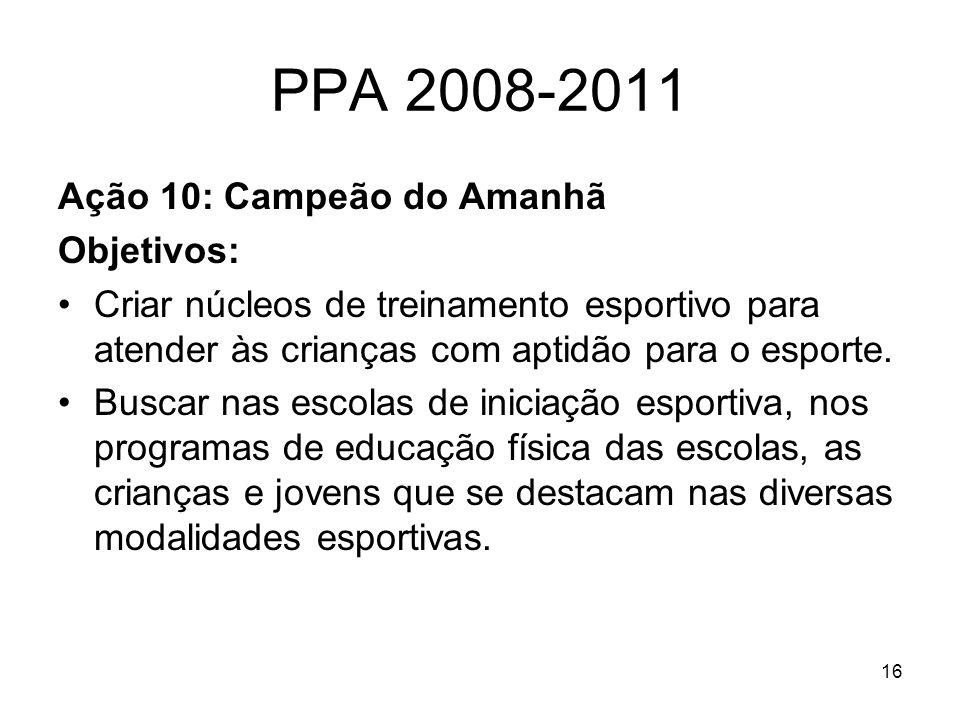 16 PPA 2008-2011 Ação 10: Campeão do Amanhã Objetivos: Criar núcleos de treinamento esportivo para atender às crianças com aptidão para o esporte. Bus