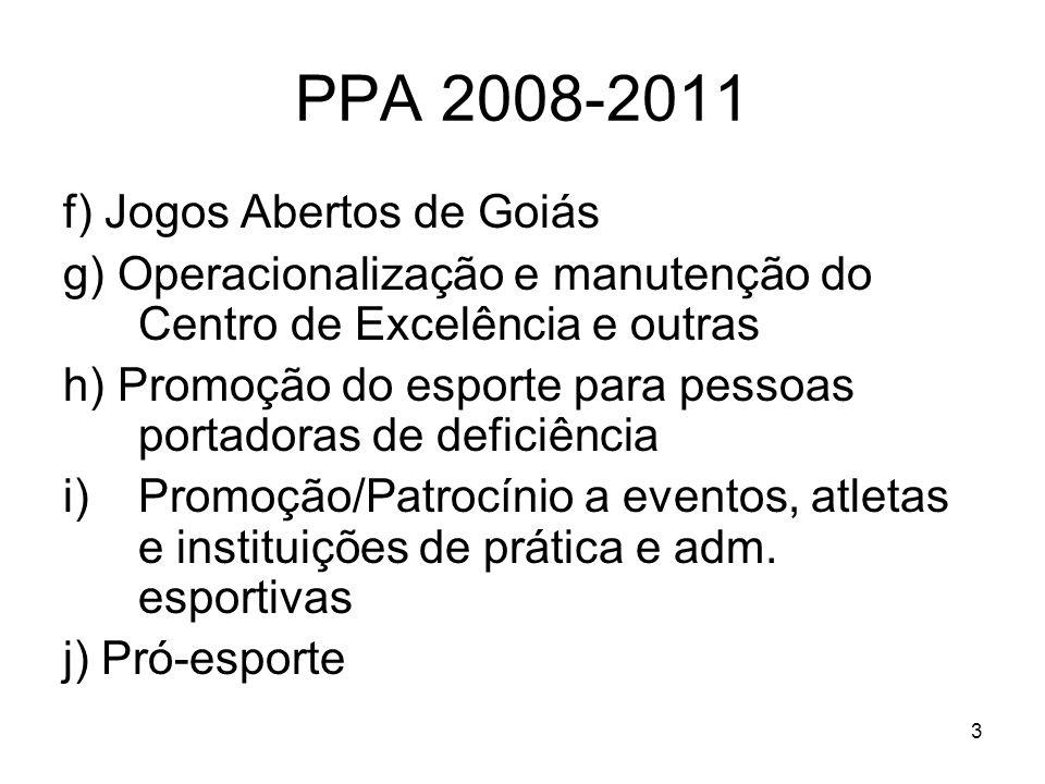 14 PPA 2008-2011 Ação 8: Capacitação Contínua de Recursos Humanos Objetivos: Qualificar Recursos Humanos para dar ao Estado condições de preparar uma geração de atletas de alto nível.