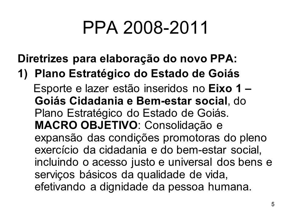 5 PPA 2008-2011 Diretrizes para elaboração do novo PPA: 1)Plano Estratégico do Estado de Goiás Esporte e lazer estão inseridos no Eixo 1 – Goiás Cidad