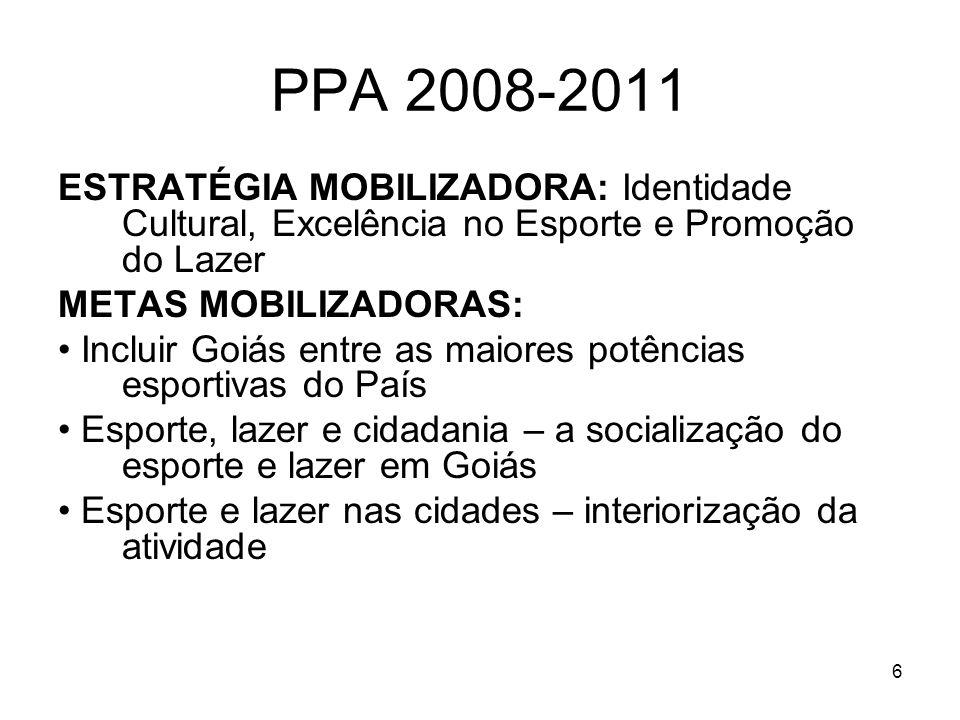 6 PPA 2008-2011 ESTRATÉGIA MOBILIZADORA: Identidade Cultural, Excelência no Esporte e Promoção do Lazer METAS MOBILIZADORAS: Incluir Goiás entre as ma