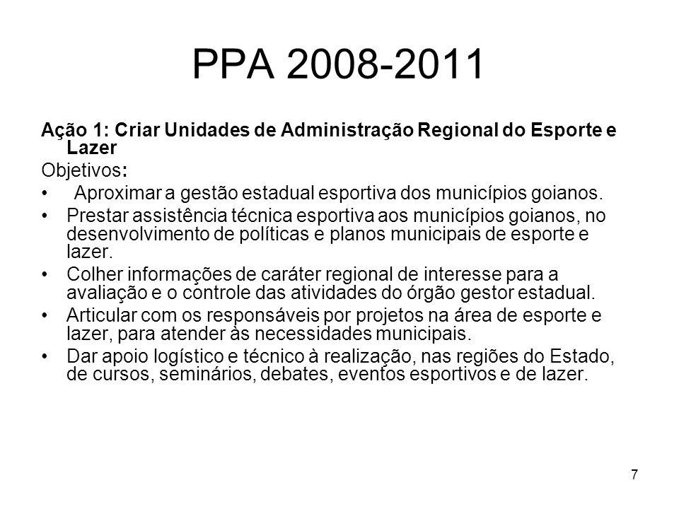 8 PPA 2008-2011 Ação 2: Criar Pólos Regionais de Esporte e Lazer Objetivos: Treinar atletas, técnicos e profissionais da área esportiva visando à excelência no esporte.