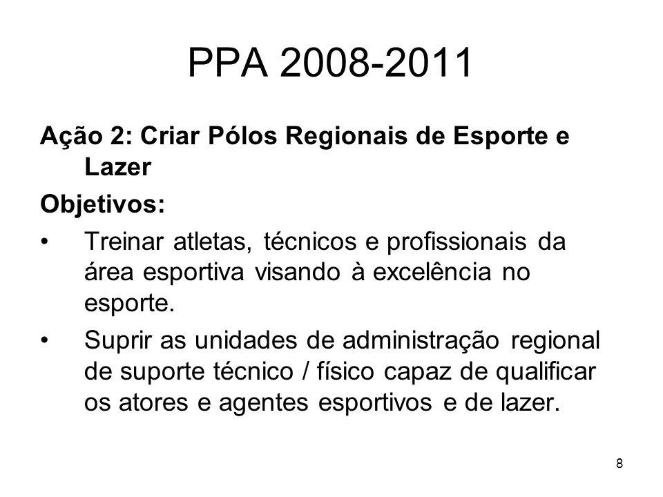 8 PPA 2008-2011 Ação 2: Criar Pólos Regionais de Esporte e Lazer Objetivos: Treinar atletas, técnicos e profissionais da área esportiva visando à exce