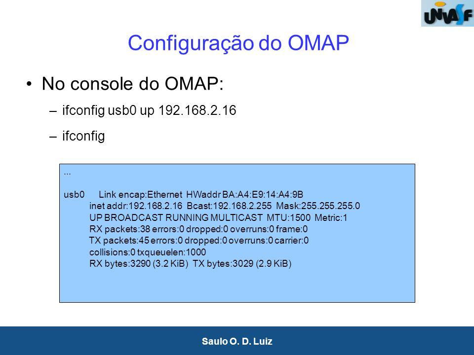 10 Saulo O. D. Luiz Configuração do OMAP No console do OMAP: –ifconfig usb0 up 192.168.2.16 –ifconfig... usb0 Link encap:Ethernet HWaddr BA:A4:E9:14:A