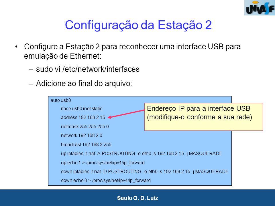 4 Saulo O. D. Luiz Configuração da Estação 2 Configure a Estação 2 para reconhecer uma interface USB para emulação de Ethernet: –sudo vi /etc/network/