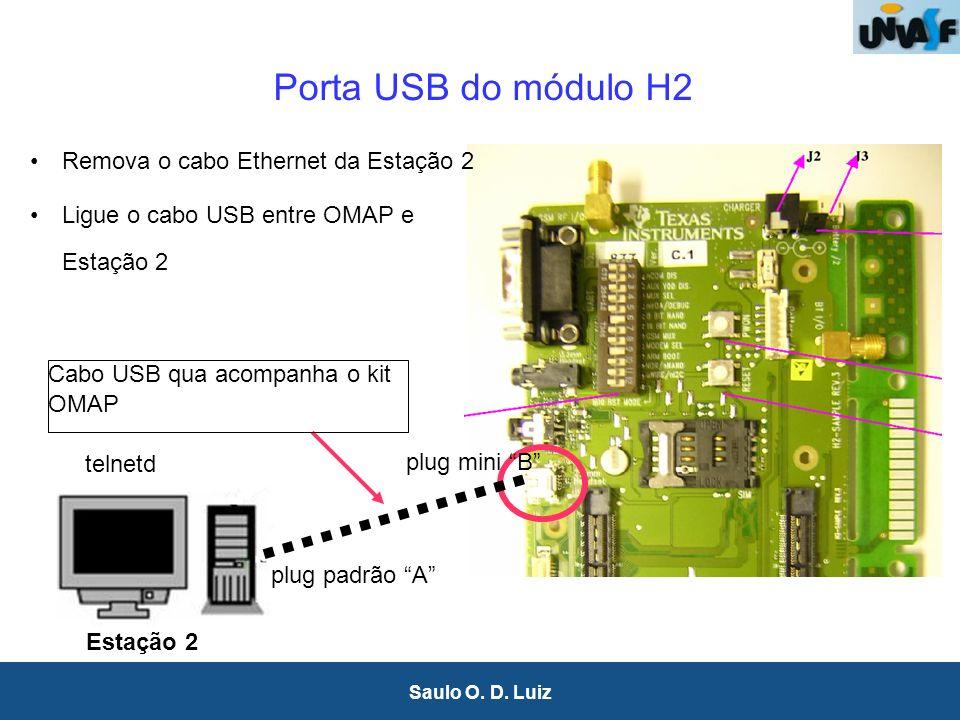 6 Saulo O. D. Luiz Porta USB do módulo H2 telnetd Estação 2 plug padrão A plug mini B Remova o cabo Ethernet da Estação 2 Ligue o cabo USB entre OMAP