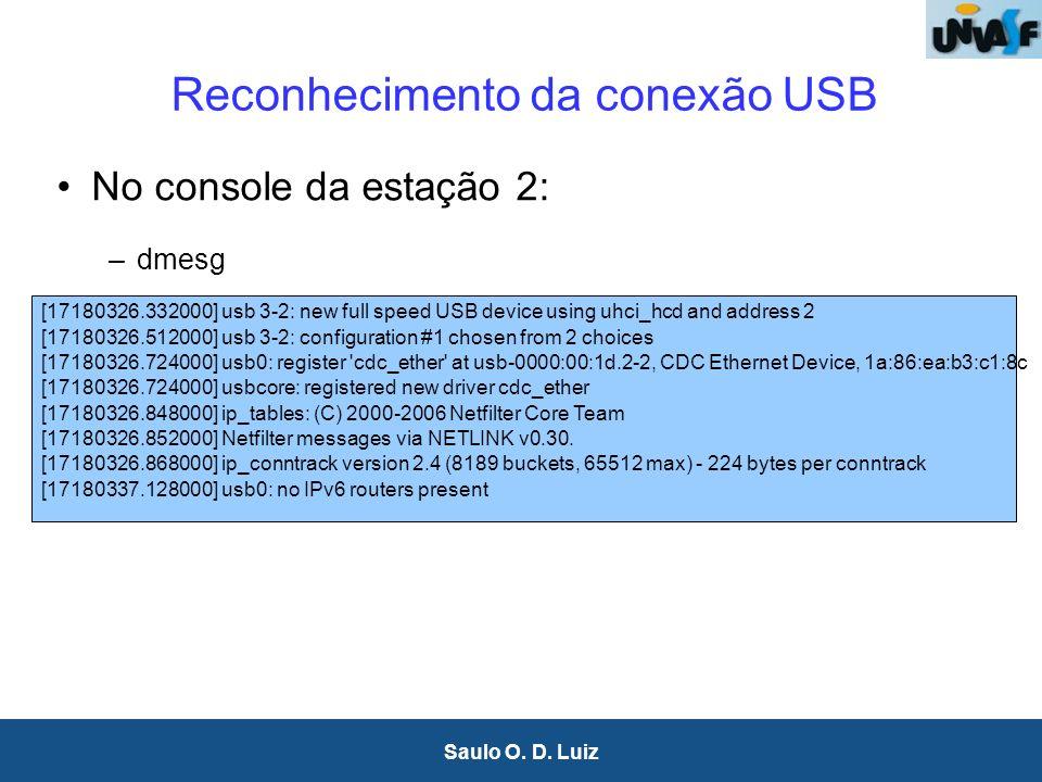 8 Saulo O. D. Luiz Reconhecimento da conexão USB No console da estação 2: –dmesg [17180326.332000] usb 3-2: new full speed USB device using uhci_hcd a
