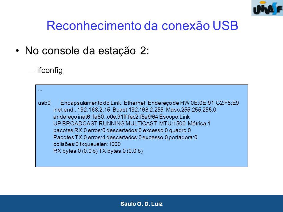 9 Saulo O. D. Luiz Reconhecimento da conexão USB No console da estação 2: –ifconfig... usb0 Encapsulamento do Link: Ethernet Endereço de HW 0E:0E:91:C