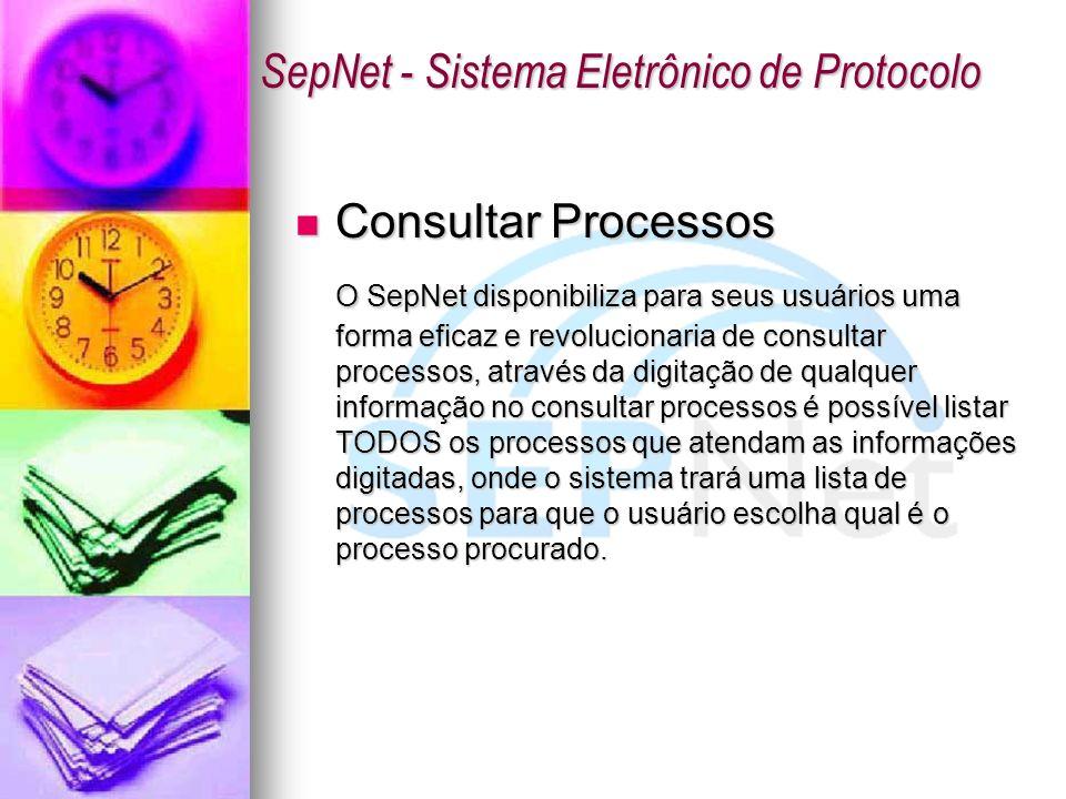 Consultar Processos Consultar Processos O SepNet disponibiliza para seus usuários uma forma eficaz e revolucionaria de consultar processos, através da