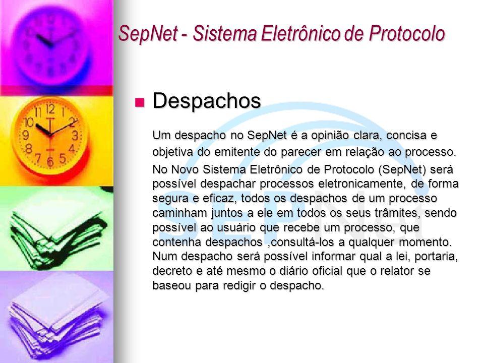 Despachos Despachos Um despacho no SepNet é a opinião clara, concisa e objetiva do emitente do parecer em relação ao processo. No Novo Sistema Eletrôn