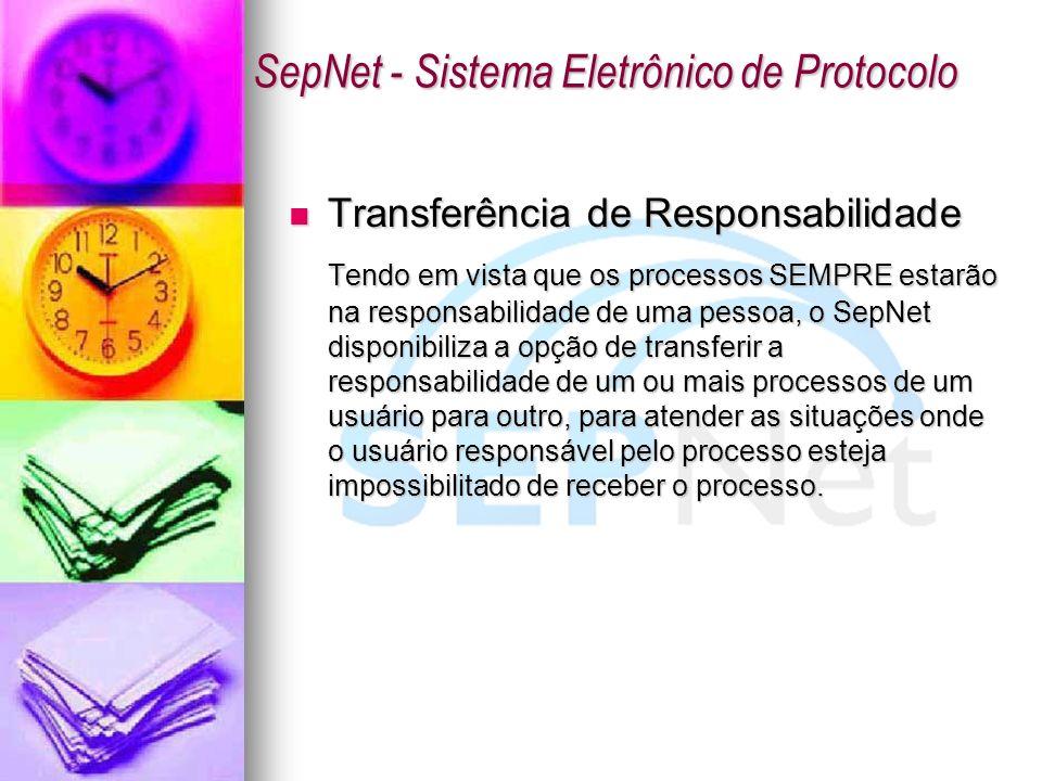 Transferência de Responsabilidade Transferência de Responsabilidade Tendo em vista que os processos SEMPRE estarão na responsabilidade de uma pessoa,