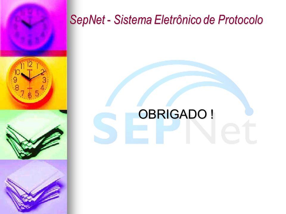 OBRIGADO ! SepNet - Sistema Eletrônico de Protocolo