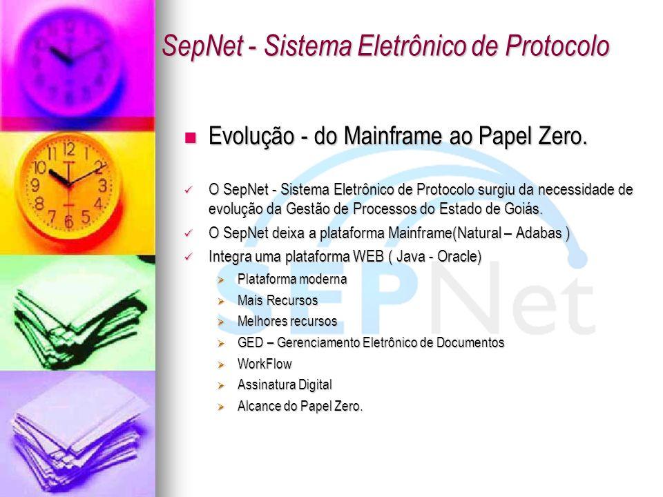 Evolução - do Mainframe ao Papel Zero. Evolução - do Mainframe ao Papel Zero. O SepNet - Sistema Eletrônico de Protocolo surgiu da necessidade de evol