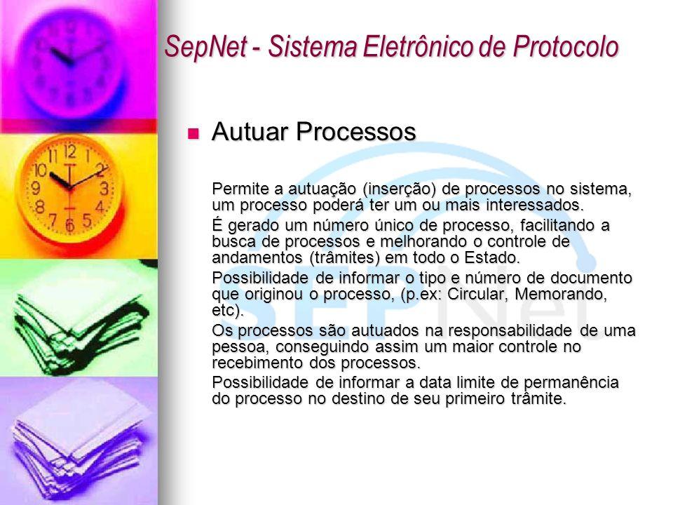 Autuar Processos Autuar Processos Permite a autuação (inserção) de processos no sistema, um processo poderá ter um ou mais interessados. É gerado um n