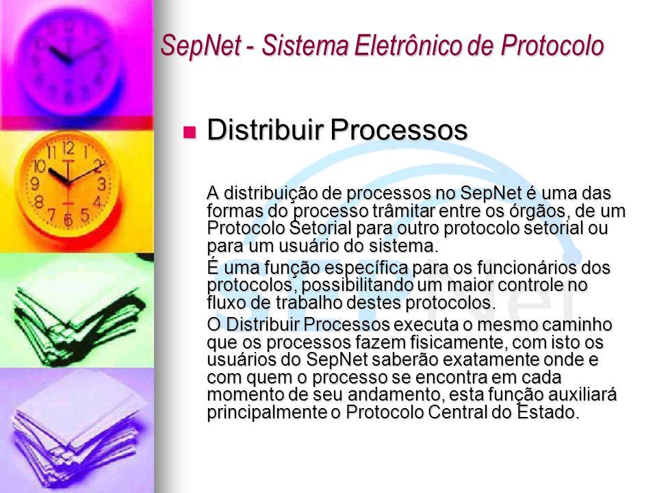 Distribuir Processos Distribuir Processos A distribuição de processos no SepNet é uma das formas do processo trâmitar entre os órgãos, de um Protocolo