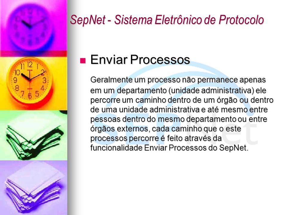 Enviar Processos Enviar Processos Geralmente um processo não permanece apenas em um departamento (unidade administrativa) ele percorre um caminho dent