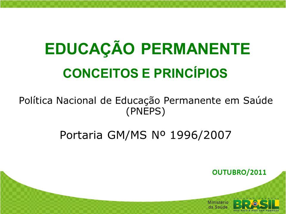 Secretaria de Gestão do Trabalho e da Educação na Saúde Ministério da Saúde Política Nacional de Educação Permanente em Saúde (PNEPS) Portaria GM/MS N