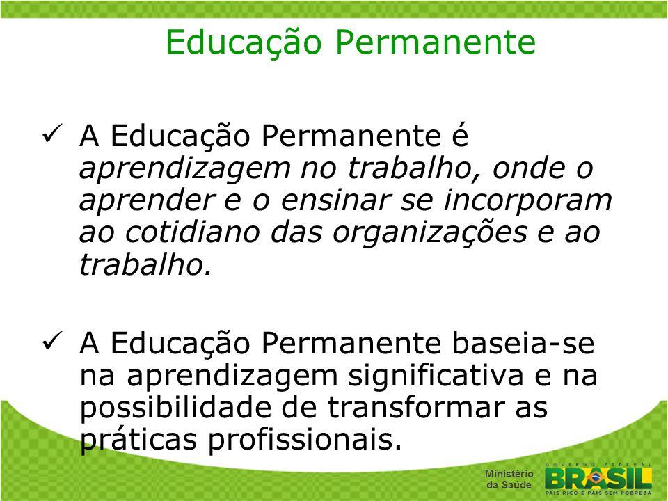 Secretaria de Gestão do Trabalho e da Educação na Saúde Ministério da Saúde Educação Permanente A Educação Permanente é aprendizagem no trabalho, onde