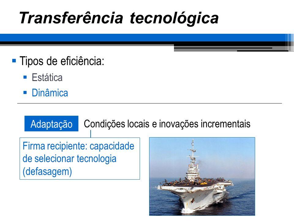 Transferência tecnológica Tipos de eficiência: Estática Dinâmica Adaptação Condições locais e inovações incrementais Firma recipiente: capacidade de selecionar tecnologia (defasagem)