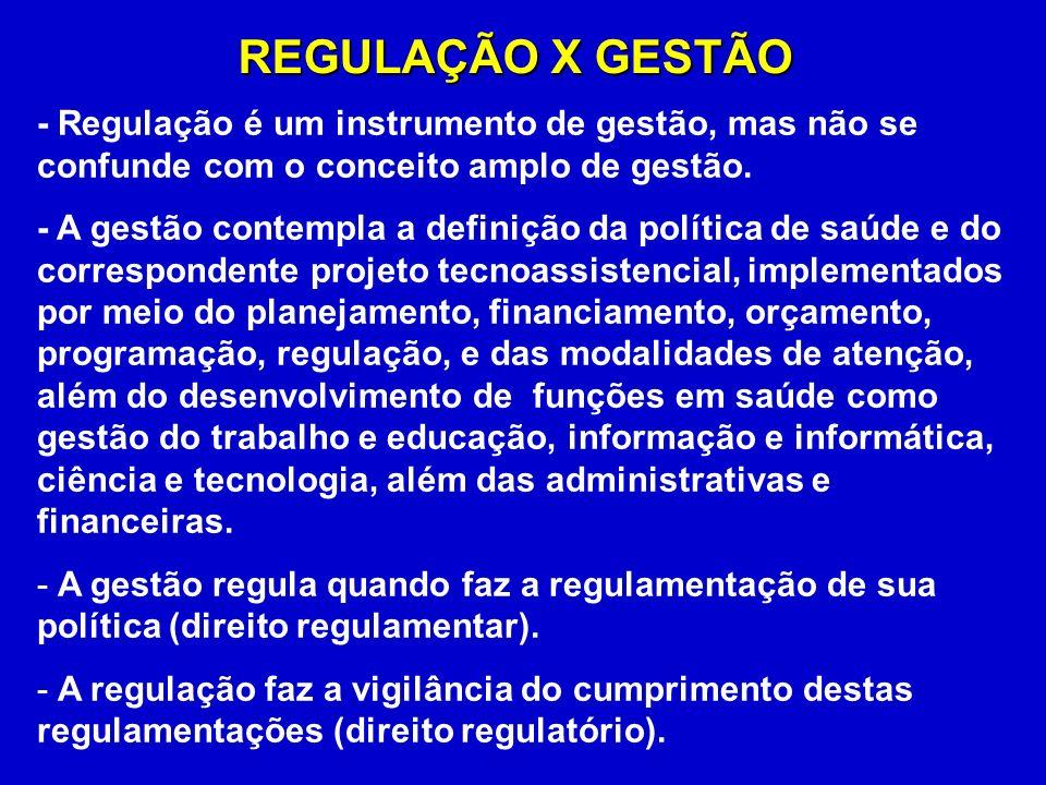 - Regulação é um instrumento de gestão, mas não se confunde com o conceito amplo de gestão.