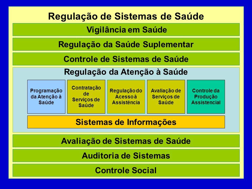 Regulação de Sistemas de Saúde Regulação da Atenção à Saúde Vigilância em Saúde Regulação da Saúde Suplementar Controle de Sistemas de Saúde Avaliação de Sistemas de Saúde Auditoria de Sistemas Controle Social Contratação de Serviços de Saúde Regulação do Acesso à Assistência Avaliação de Serviços de Saúde Programação da Atenção à Saúde Controle da Produção Assistencial Sistemas de Informações