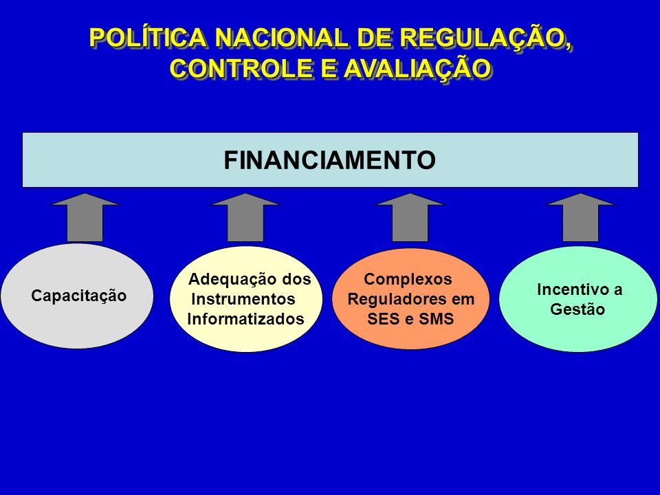 FINANCIAMENTO Complexos Reguladores em SES e SMS Adequação dos Instrumentos Informatizados Incentivo a Gestão Capacitação POLÍTICA NACIONAL DE REGULAÇÃO, CONTROLE E AVALIAÇÃO