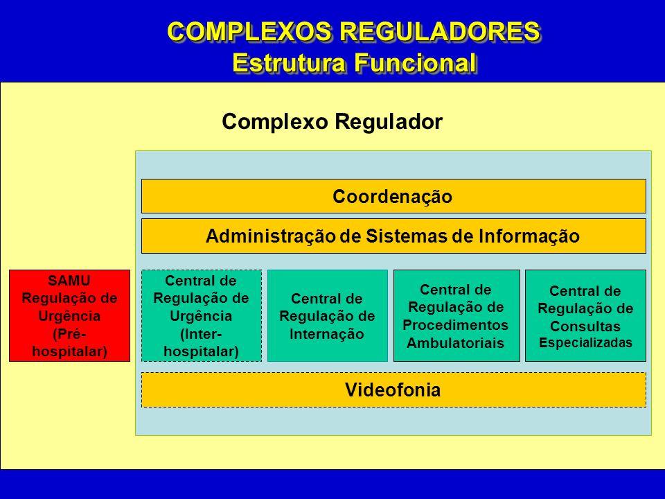 Complexo Regulador Coordenação SAMU Regulação de Urgência (Pré- hospitalar) Central de Regulação de Internação Central de Regulação de Procedimentos Ambulatoriais Central de Regulação de Consultas Especializadas Central de Regulação de Urgência (Inter- hospitalar) Administração de Sistemas de Informação Videofonia COMPLEXOS REGULADORES Estrutura Funcional COMPLEXOS REGULADORES Estrutura Funcional