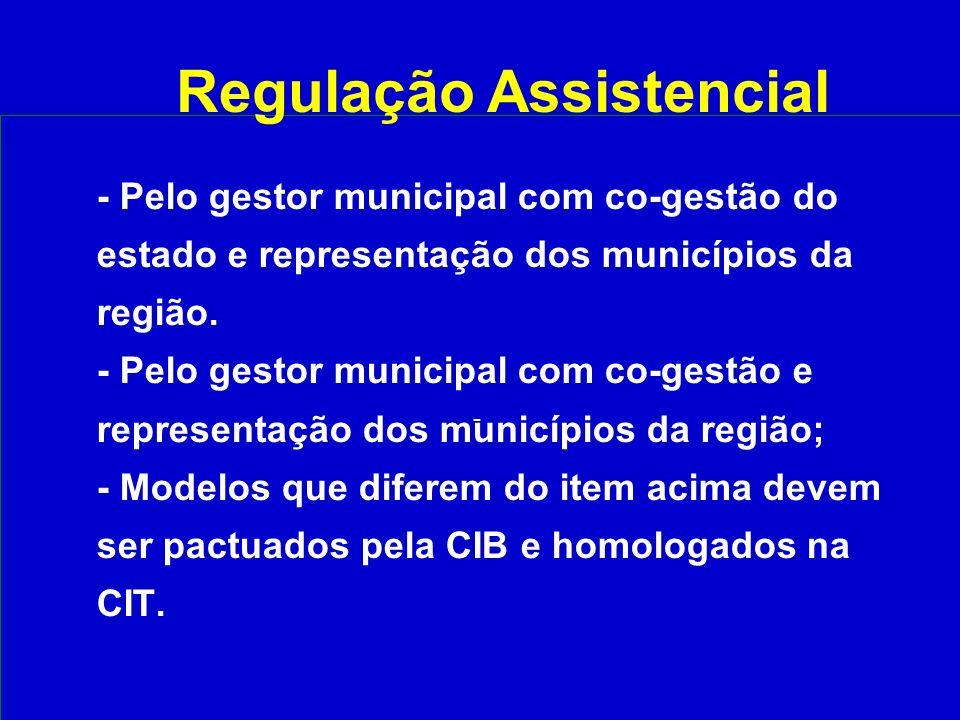 - - Pelo gestor municipal com co-gestão do estado e representação dos municípios da região.