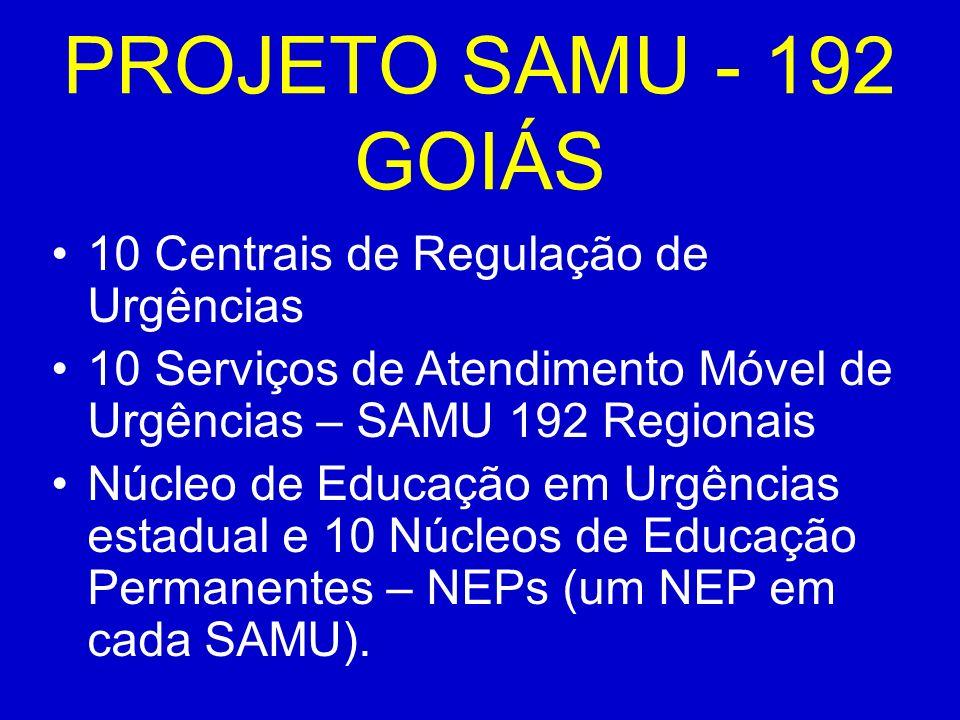 PROJETO SAMU - 192 GOIÁS 10 Centrais de Regulação de Urgências 10 Serviços de Atendimento Móvel de Urgências – SAMU 192 Regionais Núcleo de Educação em Urgências estadual e 10 Núcleos de Educação Permanentes – NEPs (um NEP em cada SAMU).