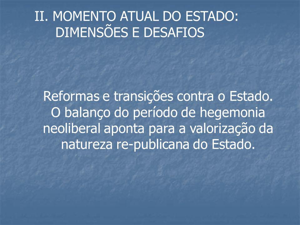 II. MOMENTO ATUAL DO ESTADO: DIMENSÕES E DESAFIOS Reformas e transições contra o Estado. O balanço do período de hegemonia neoliberal aponta para a va