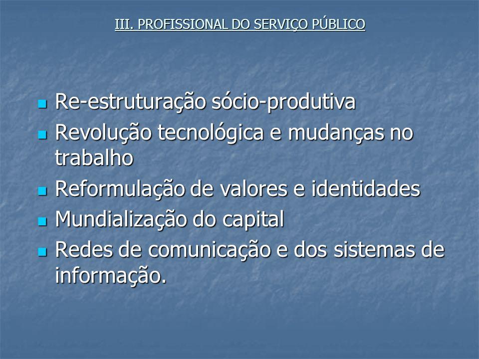 III. PROFISSIONAL DO SERVIÇO PÚBLICO Re-estruturação sócio-produtiva Re-estruturação sócio-produtiva Revolução tecnológica e mudanças no trabalho Revo