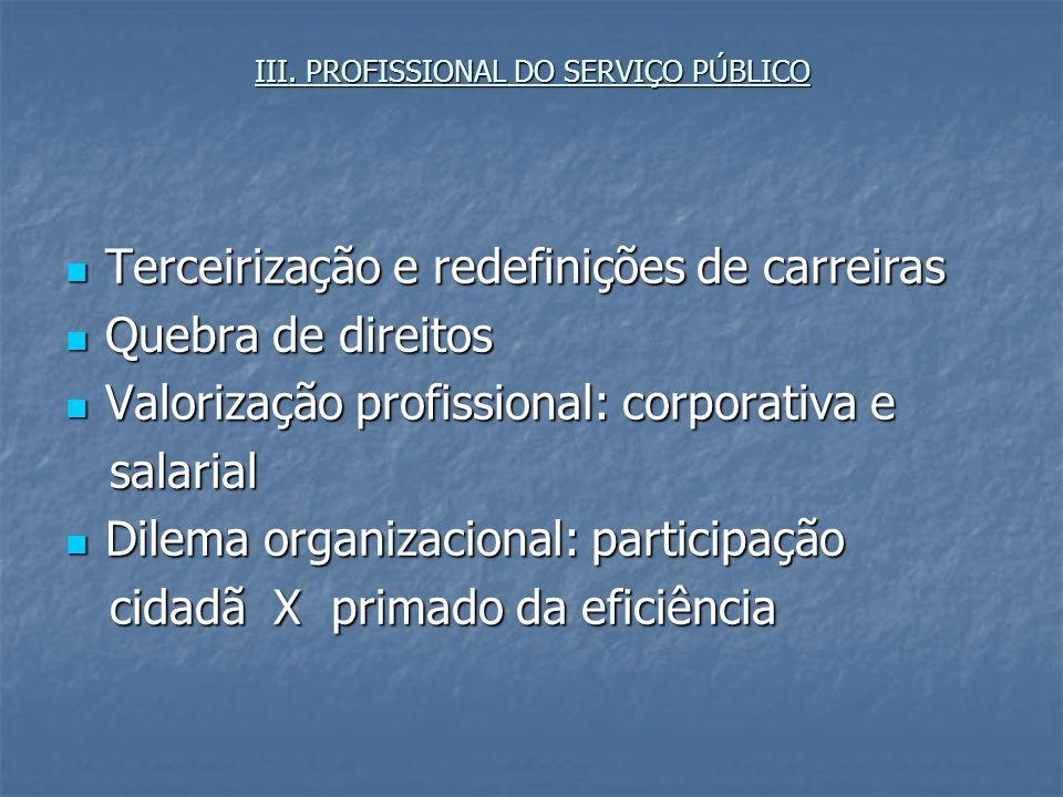 III. PROFISSIONAL DO SERVIÇO PÚBLICO Terceirização e redefinições de carreiras Terceirização e redefinições de carreiras Quebra de direitos Quebra de