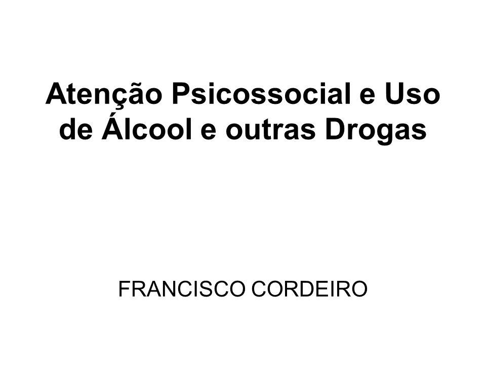 Padrão de consumo de álcool e outras drogas (CEBRID, 2005) Epidemiologia VidaAnoMês Dependência Álcool74,6%49,8%38,3%12,3% Maconha8,8%2,6%1,9%1,2% Solventes6,1%1,2%0,4%0,2% Cocaína2,9%0,7%0,4% Crack0,7%0,1%