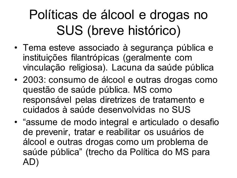 Tema esteve associado à segurança pública e instituições filantrópicas (geralmente com vinculação religiosa). Lacuna da saúde pública 2003: consumo de