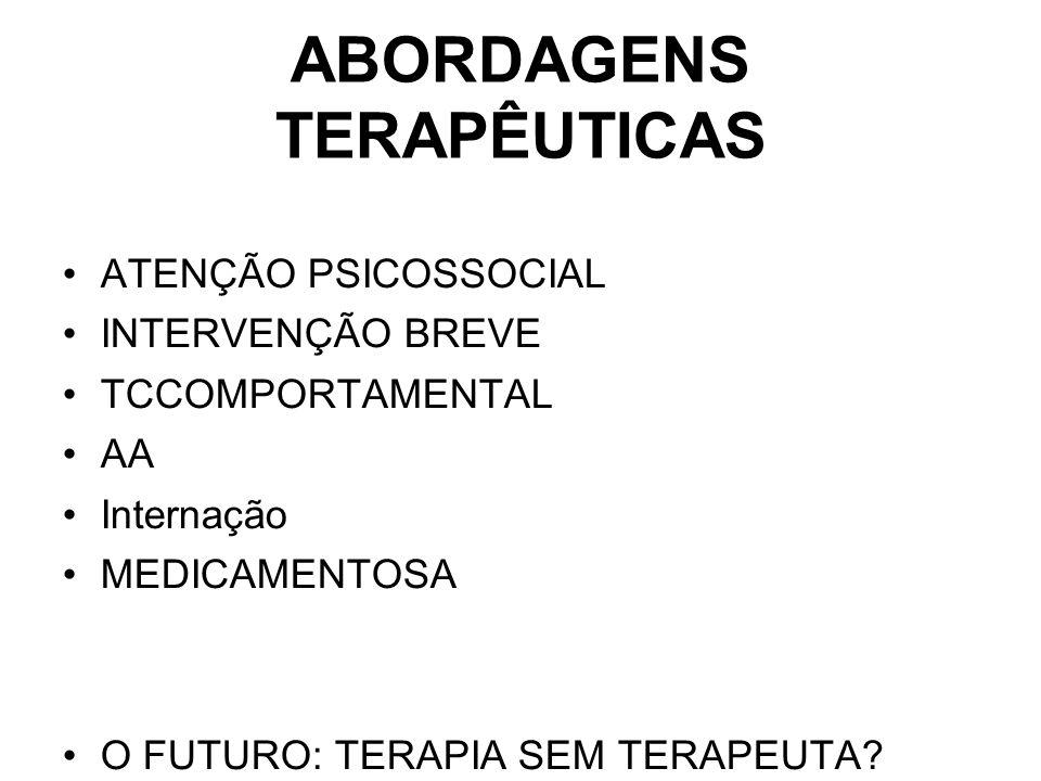 ABORDAGENS TERAPÊUTICAS ATENÇÃO PSICOSSOCIAL INTERVENÇÃO BREVE TCCOMPORTAMENTAL AA Internação MEDICAMENTOSA O FUTURO: TERAPIA SEM TERAPEUTA?