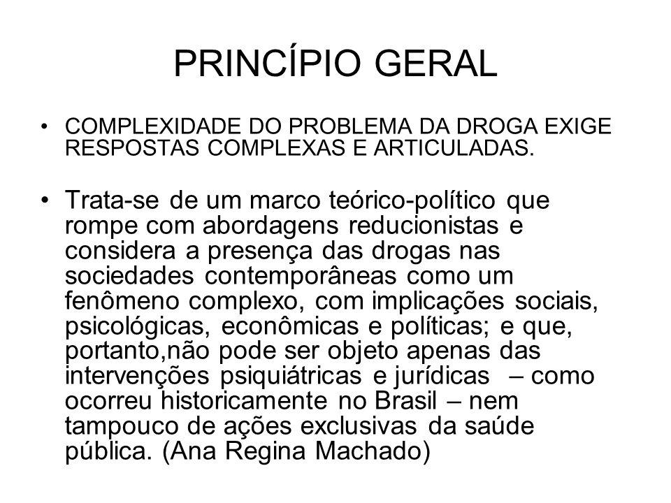 COMPLEXIDADE DO PROBLEMA DA DROGA EXIGE RESPOSTAS COMPLEXAS E ARTICULADAS. Trata-se de um marco teórico-político que rompe com abordagens reducionista
