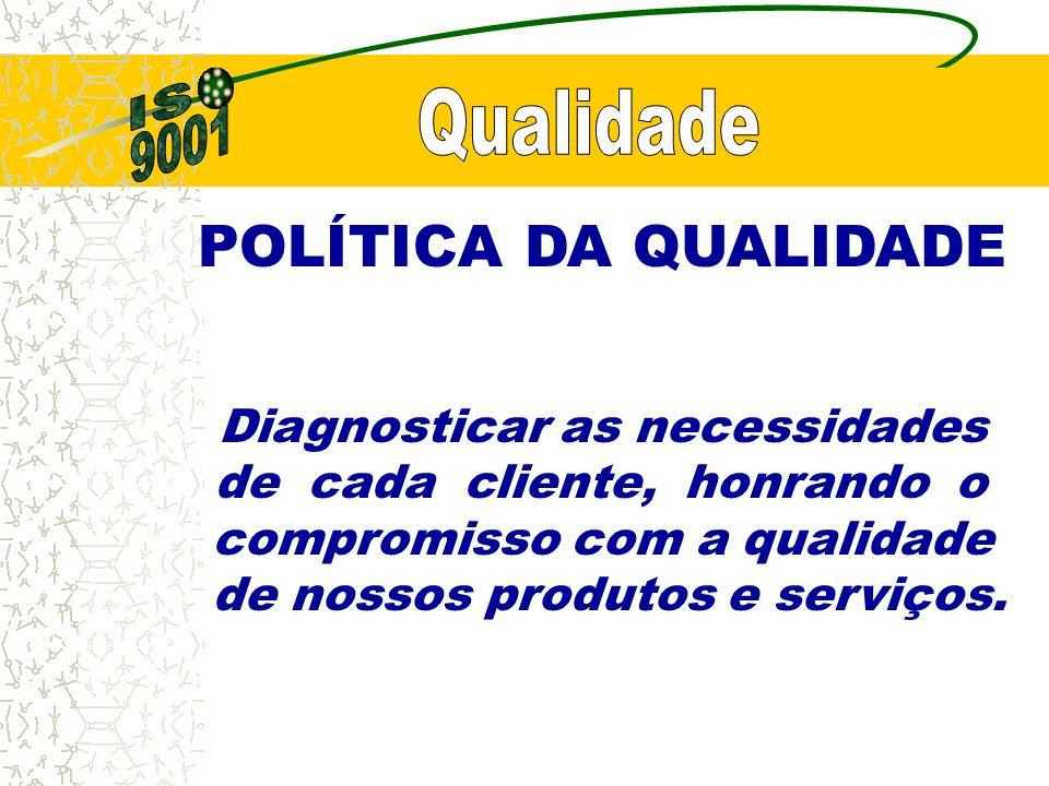 POLÍTICA DA QUALIDADE Diagnosticar as necessidades de cada cliente, honrando o compromisso com a qualidade de nossos produtos e serviços.