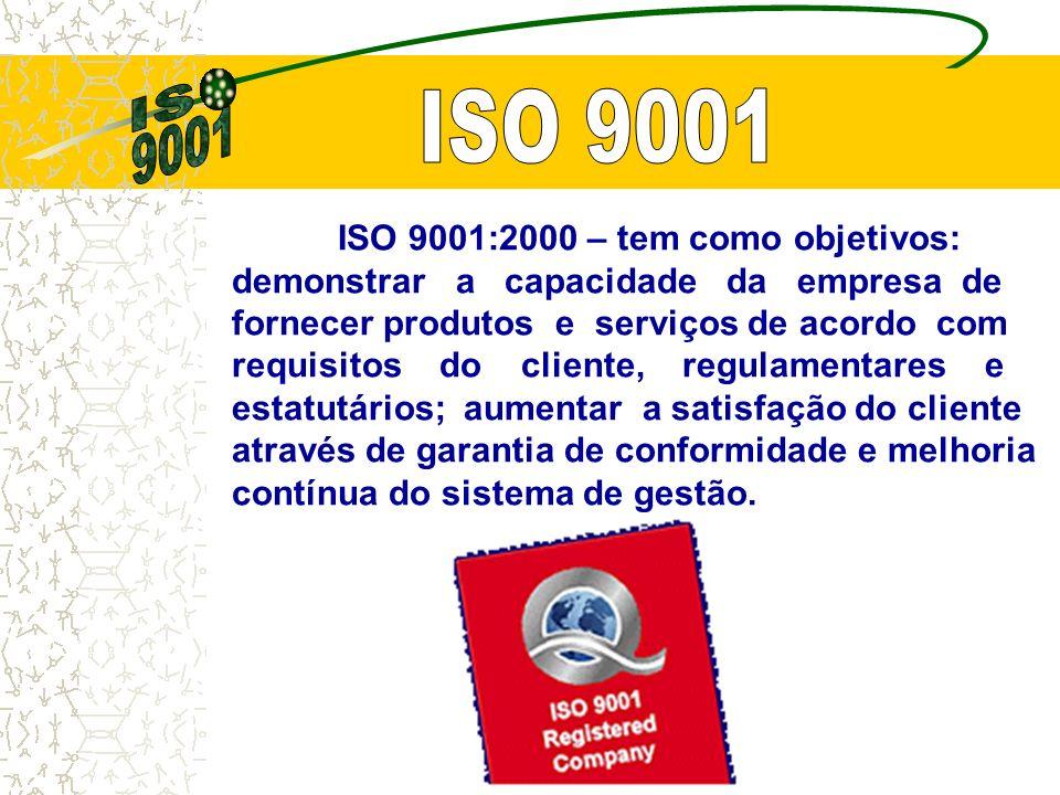 ISO 9001:2000 – tem como objetivos: demonstrar a capacidade da empresa de fornecer produtos e serviços de acordo com requisitos do cliente, regulamentares e estatutários; aumentar a satisfação do cliente através de garantia de conformidade e melhoria contínua do sistema de gestão.