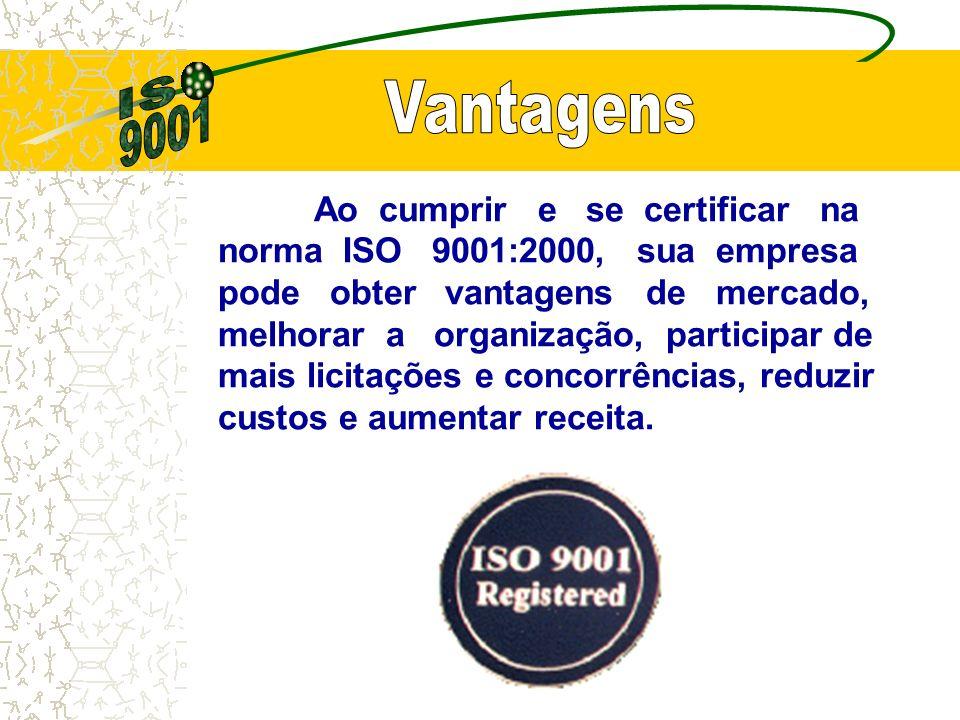 Ao cumprir e se certificar na norma ISO 9001:2000, sua empresa pode obter vantagens de mercado, melhorar a organização, participar de mais licitações e concorrências, reduzir custos e aumentar receita.
